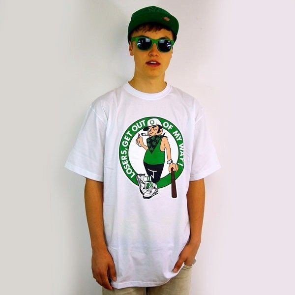Koszulka Skate Mass Dnm Green Leaf White