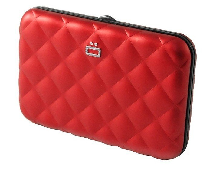 Portfel Aluminiowy Ogon Designs Quilted Button Red Card Case