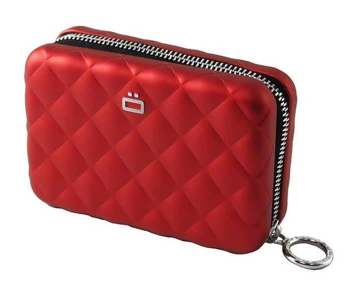 Portfel Aluminiowy Ogon Designs Quilted Zipper Red Card Case
